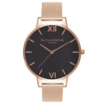 Olivia Burton Black Dial Ladies' Rose Gold Plated Watch - Product number 9418342