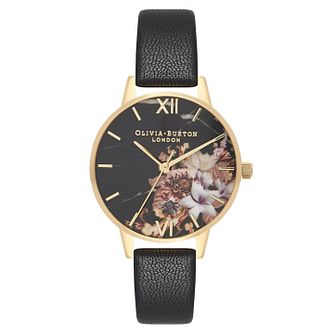 Olivia Burton Marble Florals Ladies Yellow Gold Plated Watch - Product number 9418423