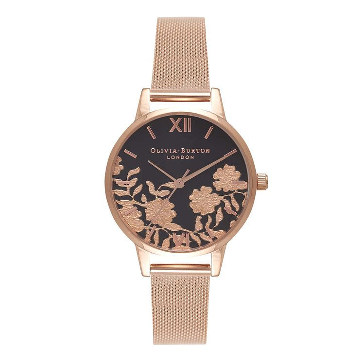 Olivia Burton Lace Ladies' Black Rose Gold Plated Watch - Product number 9419217