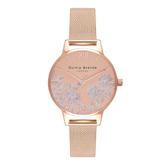 Olivia Burton Lace Detail Rose Gold Metal Plated Watch - Product number 9419241