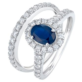 18ct White Gold 0.75ct Diamond and Sapphire Bridal Set - Product number 9421149