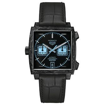 TAG Heuer Monaco Bamford Men's Black Leather Strap Watch - Product number 9423931