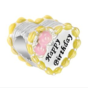 Chamilia Birthday Cake Heart Charm with Pink & Yellow Enamel - Product number 9425349