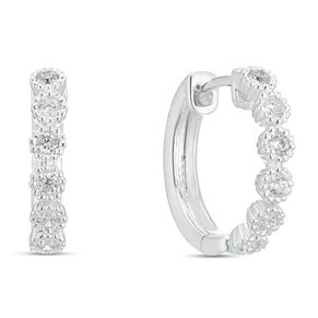 Sterling Silver Cubic Zirconia Small Hoop Earrings - Product number 9427805