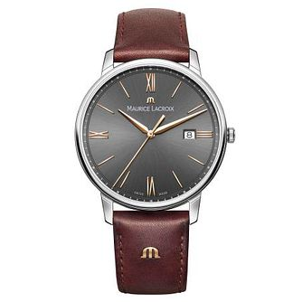 Maurice Lacroix Men's Stainless Steel Brown Strap Watch - Product number 9430261