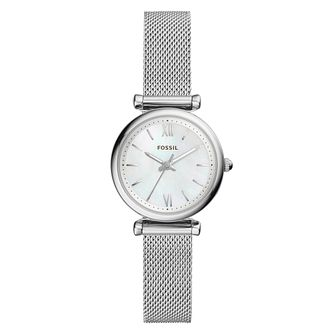 Fossil Carlie Mini Stainless Steel Mesh Bracelet Watch - Product number 9430792