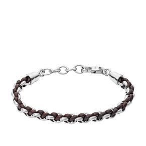 Fossil Woven Stainless Steel and Brown Leather Bracelet - Product number 9430938