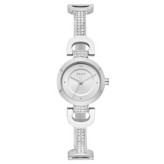DKNY Ladies' Reade Silver Stainless Studded Bracelet Watch - Product number 9431225