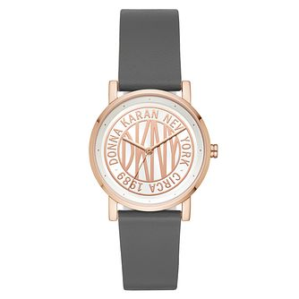 DKNY Ladies' SoHo Grey Leather Strap Watch - Product number 9431268