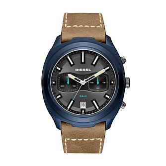 Diesel Brown Leather Strap Watch Grey Dial - Product number 9431292
