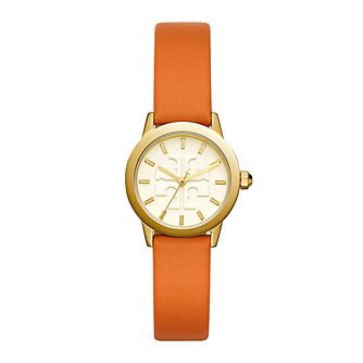 Tory Burch Gigi Ladies' Yellow Gold Tone Orange Strap Watch - Product number 9432930