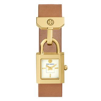 Tory Burch Surrey Ladies' Yellow Gold Tone Tan Strap Watch - Product number 9433392