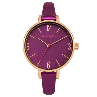 Daisy Dixon Khloe Ladies' Purple Leather Strap Watch - Product number 9444920