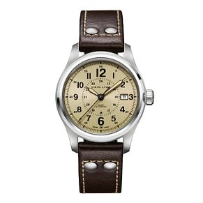 Hamilton men's automatic brown leather strap watch - Product number 9446524