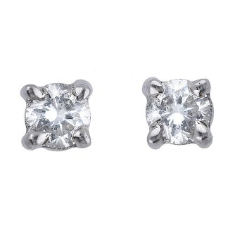 9ct white gold four claw diamond solitaire earring - Product number 9447245