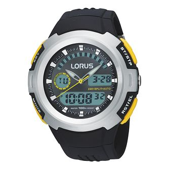 Lorus Men's Black & Yellow Trim Digital Dial - Product number 9449469