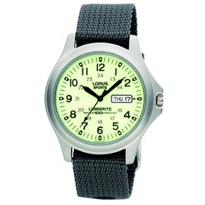 Lorus Lumibrite Men's Grey Canvas Strap Watch - Product number 9454462