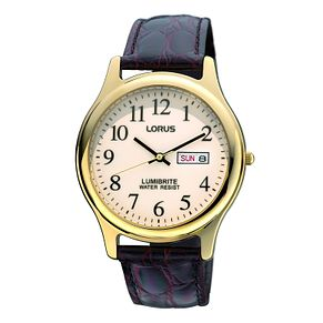 Lorus Lumibrite Men's Brown Leather Strap Watch - Product number 9454470