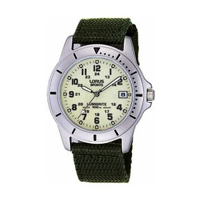 Lorus Lumibrite Men's Green Canvas Strap Watch - Product number 9454497