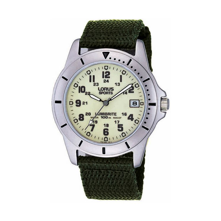 Lorus Lumibirte Green Canvas Strap Watch - Product number 9454497