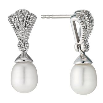 Sterling Silver Diamond Freshwater Pearl Fan Drop Earrings - Product number 9524460