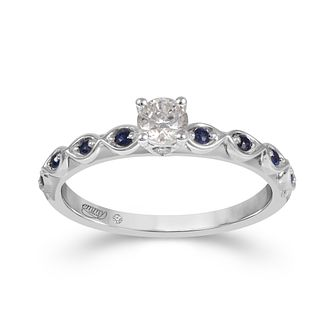 Emmy London 18ct White Gold Sapphire 0.25ct Diamond Ring - Product number 9527559