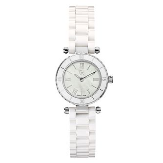 Gc ladies' mother of pearl dial white ceramic bracelet watch - Product number 9528350