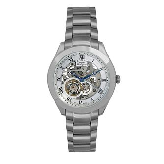 Rotary Jura men's stainless steel skeleton strap watch - Product number 9531815