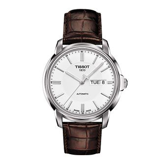 Tissot men's stainless steel brown leather strap watch - Product number 9534954