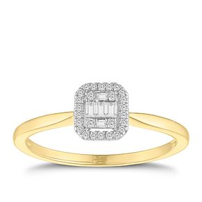 9ct Yellow Gold Baguette Cluster 0.09ct Diamond Ring - Product number 9536957