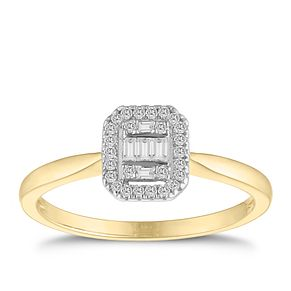 9ct Yellow Gold Baguette Cluster 0.15ct Diamond Ring - Product number 9537635