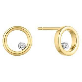 9ct Yellow Gold Circle Earrings with 0.04ct Diamond - Product number 9539840