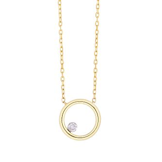 9ct Yellow Gold Circle Pendant with 0.04ct diamond - Product number 9539867