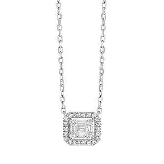 9ct White Gold Baguette Cluster 0.09ct Diamond Pendant - Product number 9539891