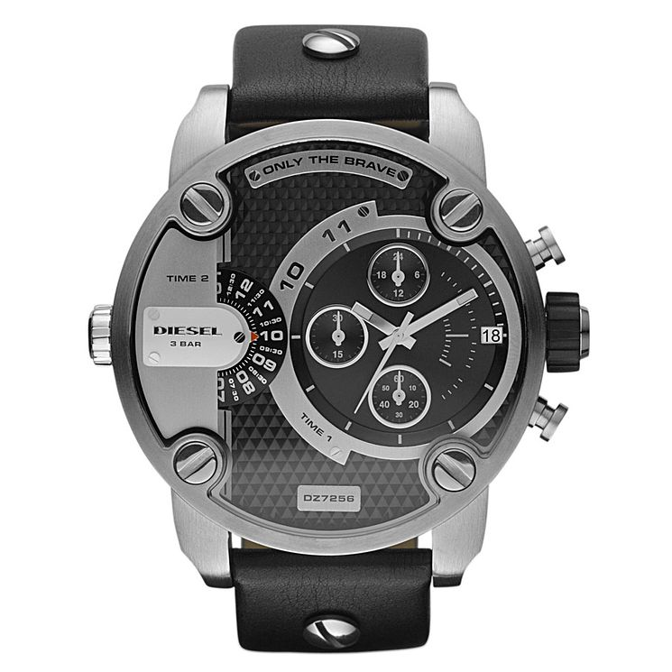Diesel Little Daddy Men's Black Leather Strap Watch - Product number 9540253