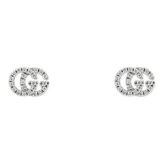 Gucci Running G 18ct White Gold Diamond Earrings - Product number 9540504