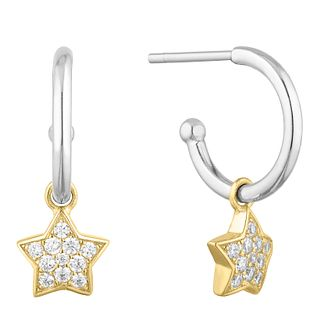 Two Tone Silver & Yellow Gold Plated Star Hoop Earrings - Product number 9541659