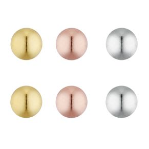 Silver Three Coloured Ball Stud Earring Set - Product number 9542159
