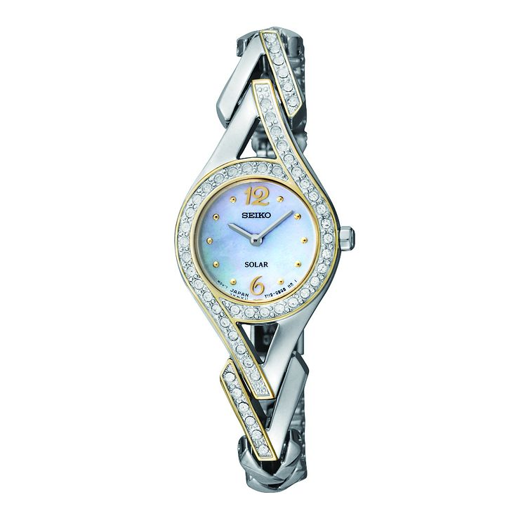 Seiko Ladies' Solar Two Colour Stone Set Bracelet Watch - Product number 9543007