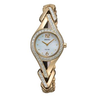 Seiko ladies' solar gold plated stone set bracelet watch - Product number 9543023