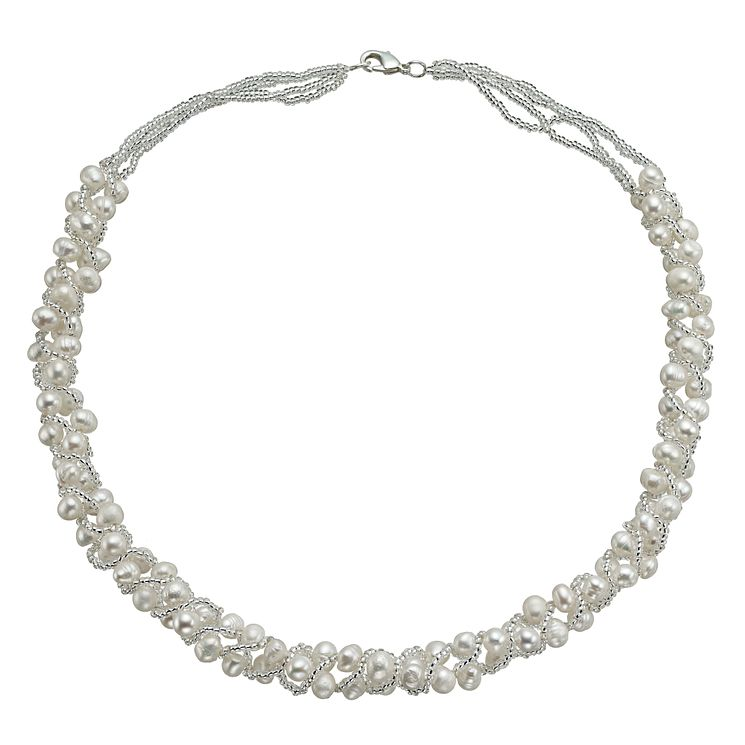"Sterling Silver Freshwater Pearl Bead Wrap Necklace 18"" - Product number 9544194"