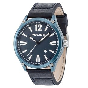 Police Denton Men's Blue Leather Strap Watch - Product number 9546758