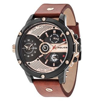 Police Leader Men's Brown Leather Strap Watch - Product number 9546774