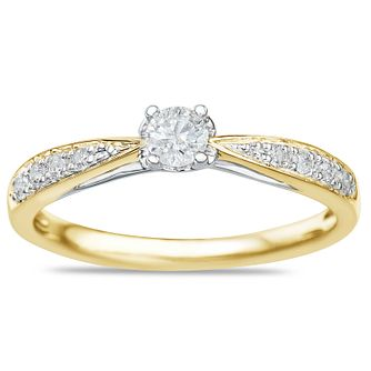 9ct Yellow Gold 1/4ct Diamond Solitaire Ring - Product number 9549978