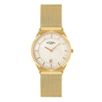 Rotary Men's Gold Plated Mesh Bracelet Watch - Product number 9552421