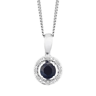 Silver 925 Rhodium Plated Sapphire & 0.02ct Diamond Pendant - Product number 9558497
