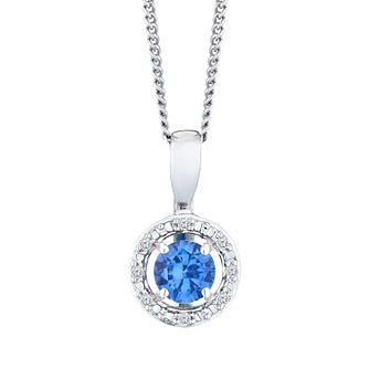 Silver Rhodium Plated Created Tanzanite & Diamond Pendant - Product number 9560068