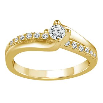 18ct Yellow Gold 1/4ct Diamond Solitaire Twist Ring - Product number 9560602
