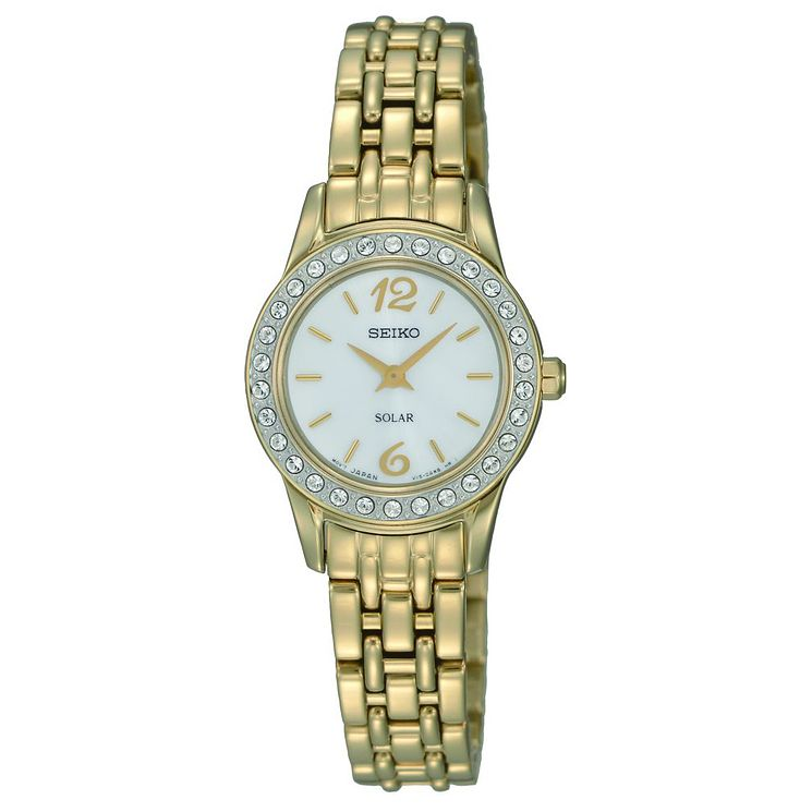 Seiko Solar Ladies' Crystal Set Gold Plated Bracelet Watch - Product number 9572651