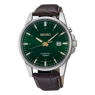 Seiko Kinetic Men's Brown Leather Strap Watch - Product number 9573151